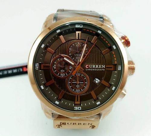 relógio 100% funcional pulseira de couro curren frete grátis