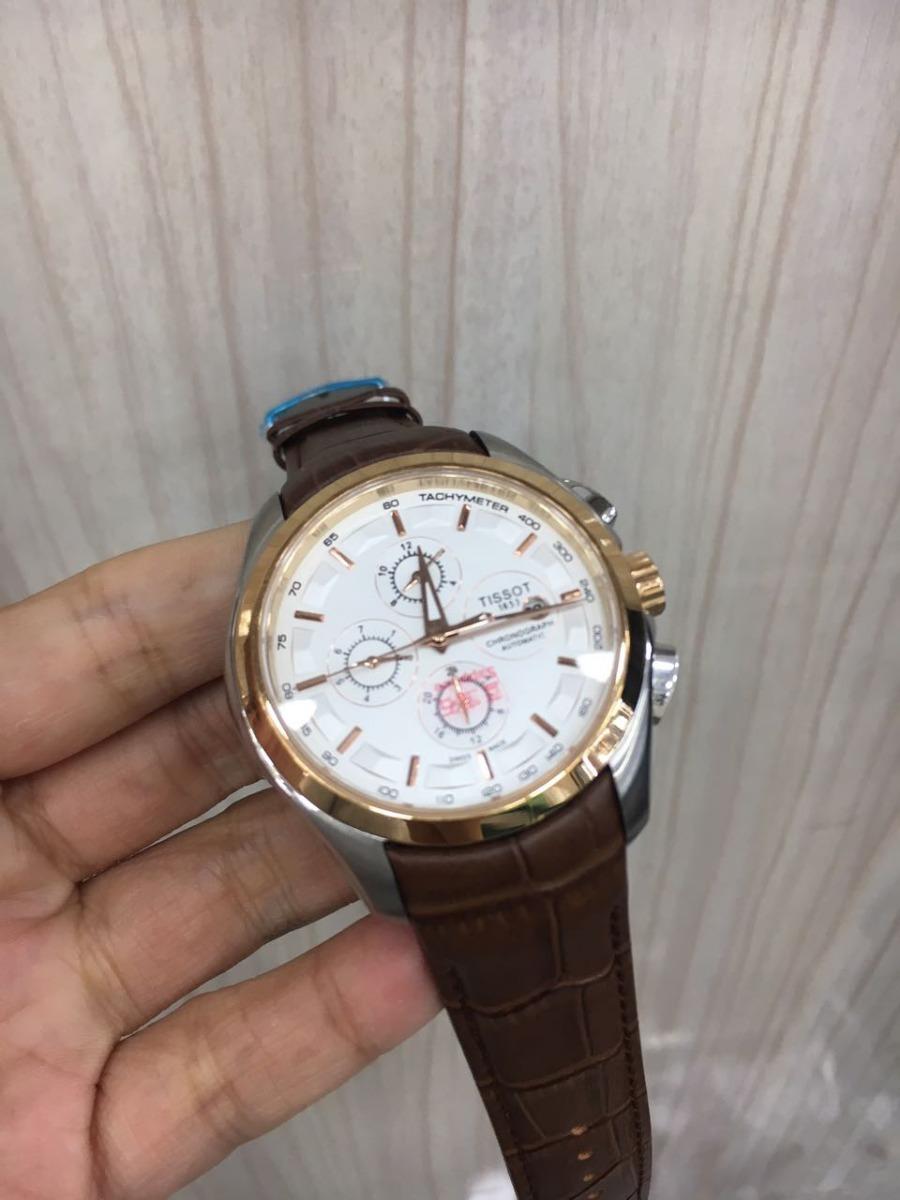 4296b3de7c2 relógio 1853 automatic prata bezel rose fundo branco couro. Carregando zoom.