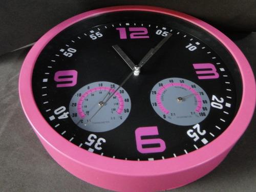 relogio 25 cm cor pink com temperatura humidade cor de rosa