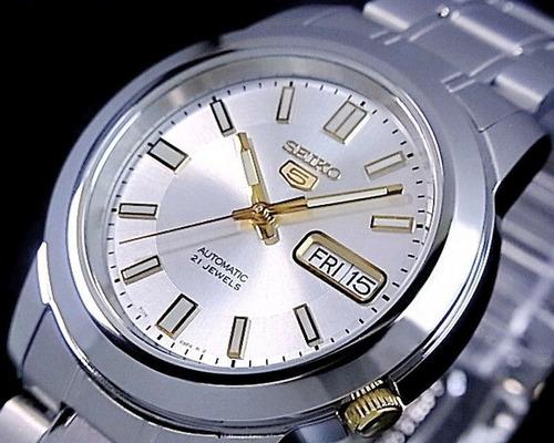 relógio aço inoxidável seiko 5 snkk 09k1 automático 21 jewel