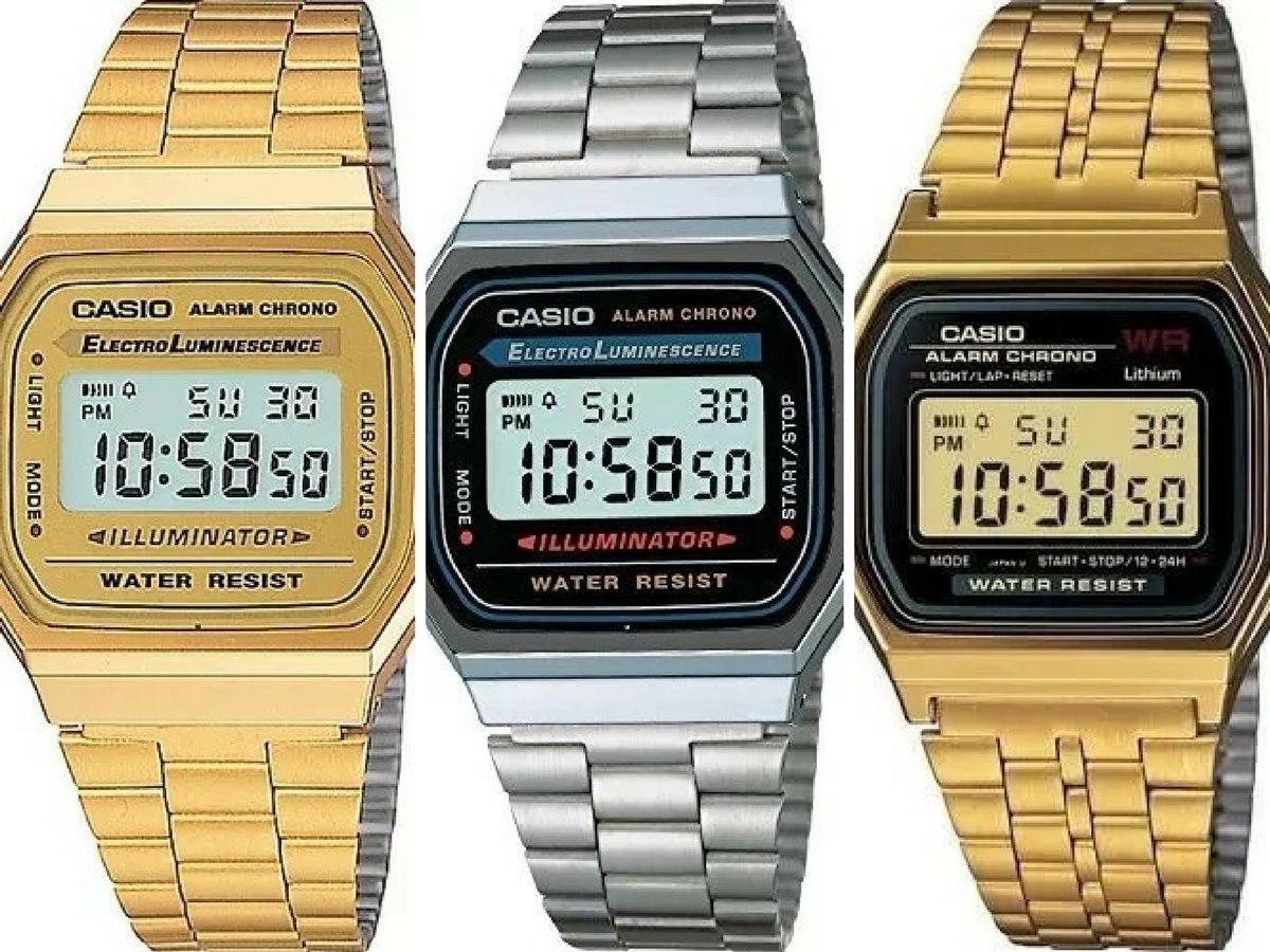 ac80e87bd48 Relógio Aço Retro Casio Vintage Dourado Prata Preto+caixa - R  18