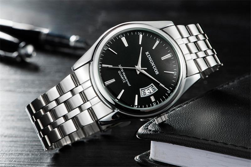 7771eb1b381 Relógio Açoinox Masculino Prata preto Kingnuos Frete Gratis - R  84 ...