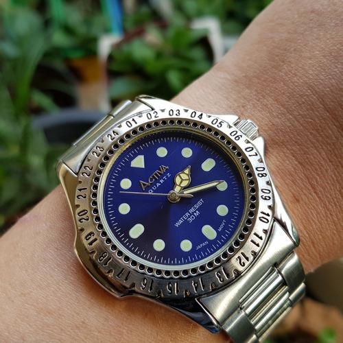 relógio activa quartz japan movt azul