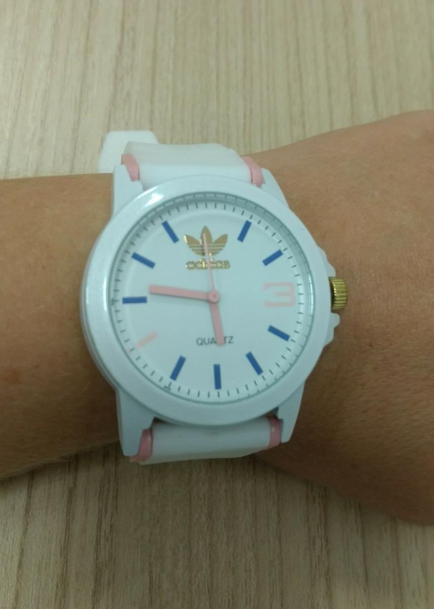 d25d87998b0 relógio adidas pulseira de silicone branco e rosa claro. Carregando zoom.