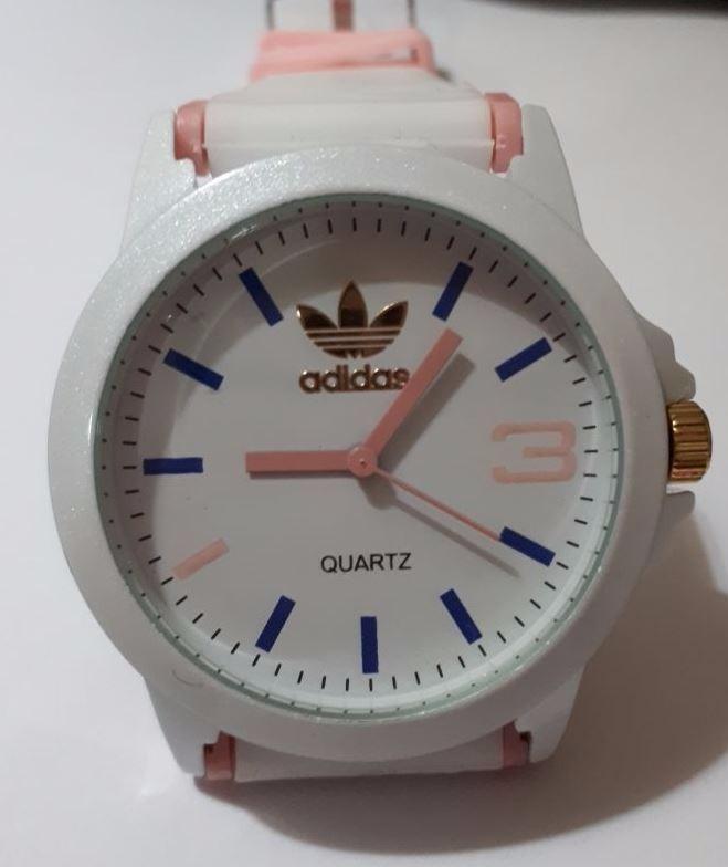 9670332bc70 Relógio adidas Pulseira De Silicone Branco E Rosa Claro - R  75