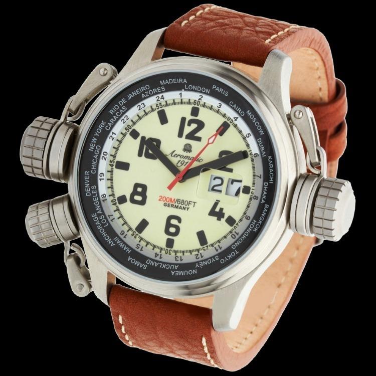 a866253511d Relógio Alemão Suíço Aeromatic Militar Worldtimer Gmt A1285 - R  1.399