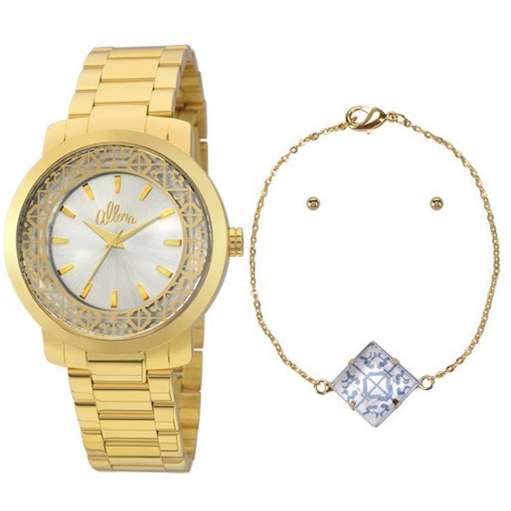 f49ecbf828c Relógio Allora Facetados C  Colar E Brincos - Dourado - R  149