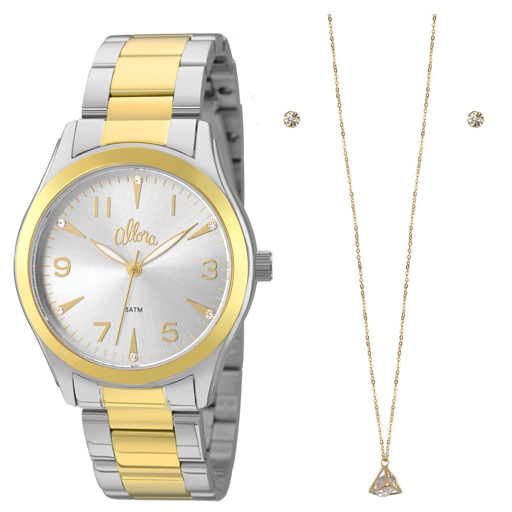 266367318 Kit Relógio Allora Feminino Al2035fkm k5k Dourado prata - R  149