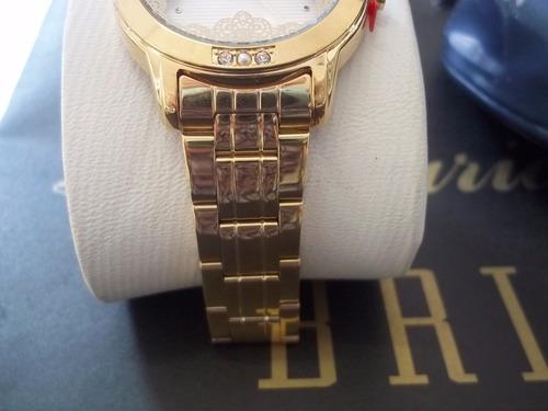 Relógio Allora Feminino Listras E Rendas Dourado - R  214,90 em ... b3e0c4221c
