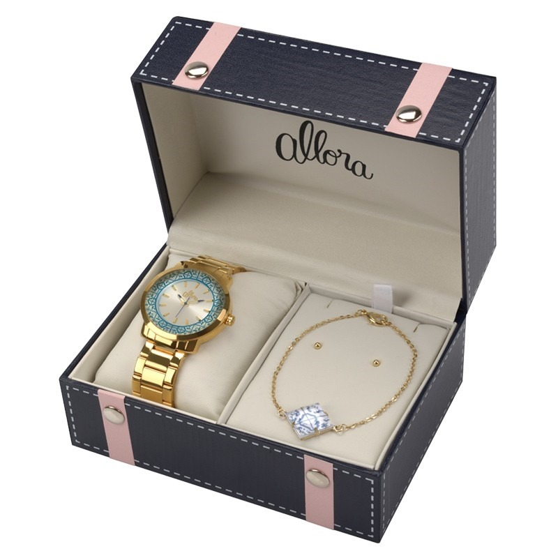ceb50700ed2 Relógio Allora Analógico Feminino + Banhado A Ouro 24k Al203 - R ...