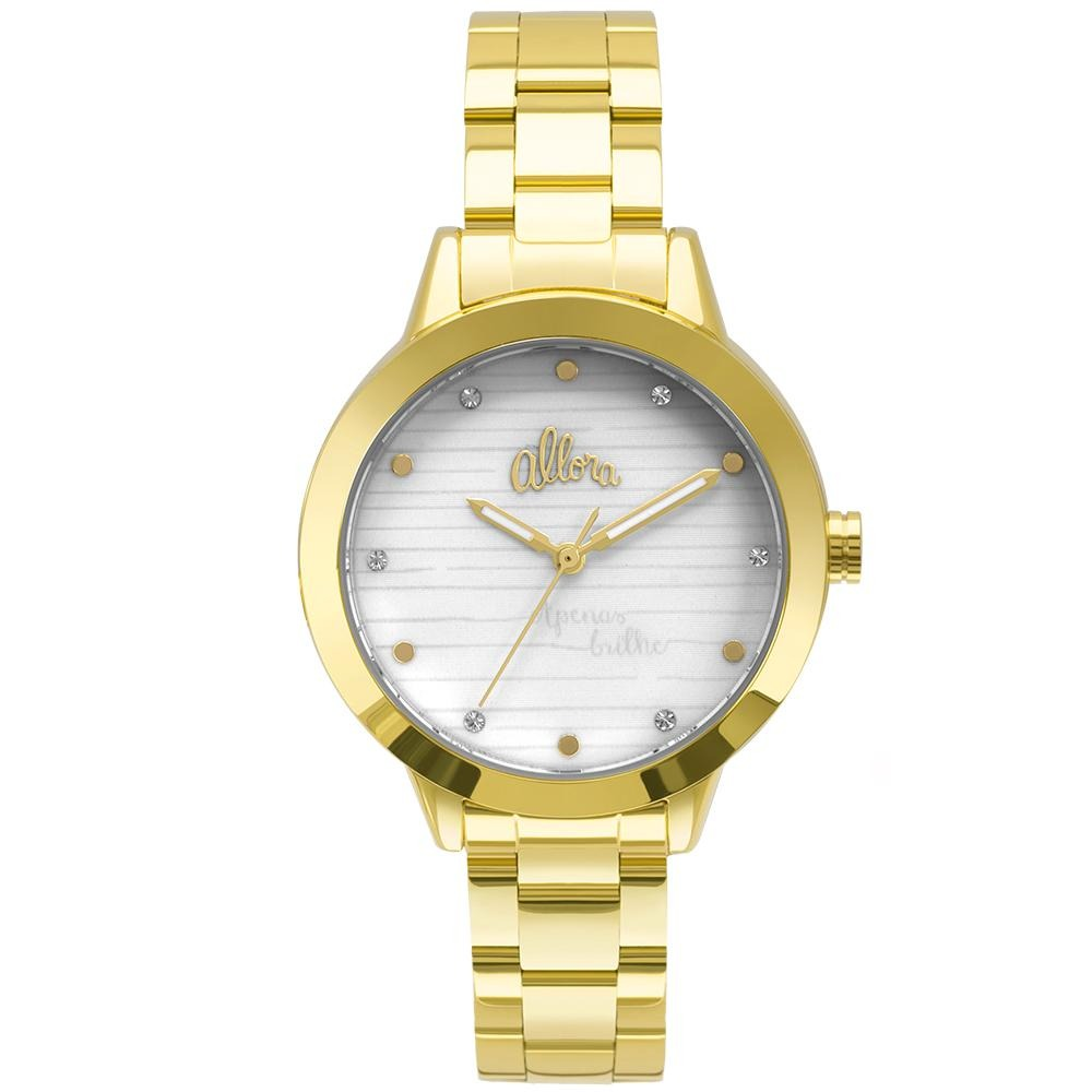 647a72d9396 Kit Relógio Allora Feminino Serena Al2036flv k4b - Dourado - R  229 ...