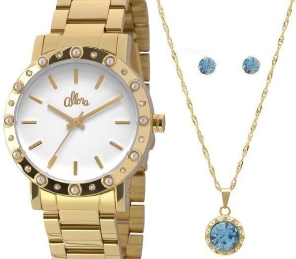 1414130fc4c4e Relógio Allora Feminino Dourado Al2035ezs k4b +colar - R  129