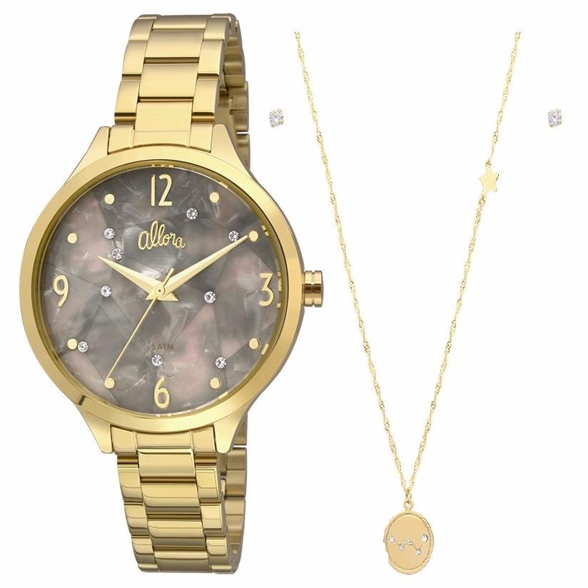 7e73fe1dc24 Relógio Allora Feminino Dourado Al2036fii k4c Colar + Brinco - R ...