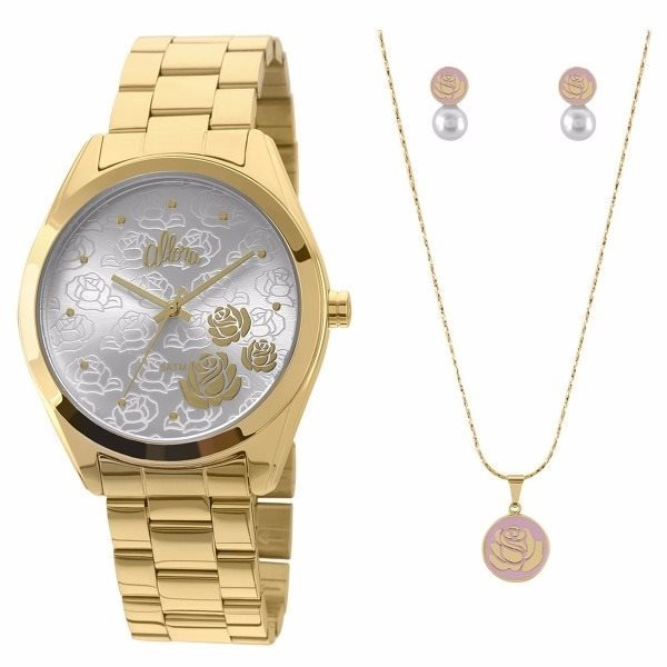 fb35667bb4f Relógio Allora Kit Semi Joia Feminino - Al2035faz k4k - R  179