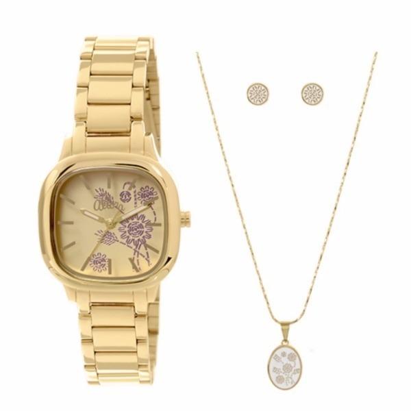 d01d9abf60d5c Relógio Allora Kit Semi Joia Feminino Dourado - Al2036ce k4d - R ...
