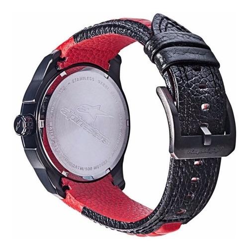 relógio alpinestars tech 3h pulseira couro vermelho preto