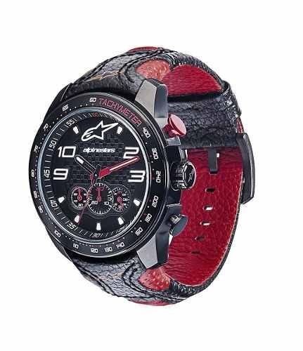 relogio alpinestars tech chrono pulseira couro miyota motogp