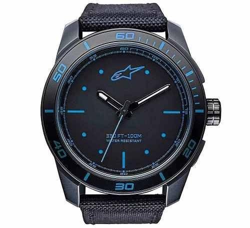 relogio alpinestars tech watch pulseira nylon miyota azul