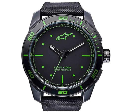 relogio alpinestars tech watch pulseira nylon miyota verde