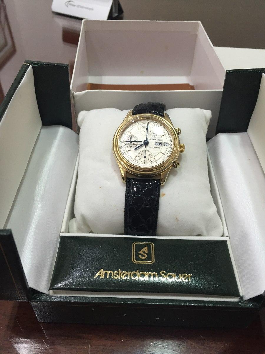 f55bbc526be relógio amsterdam sauer folheado a ouro na caixa. Carregando zoom.