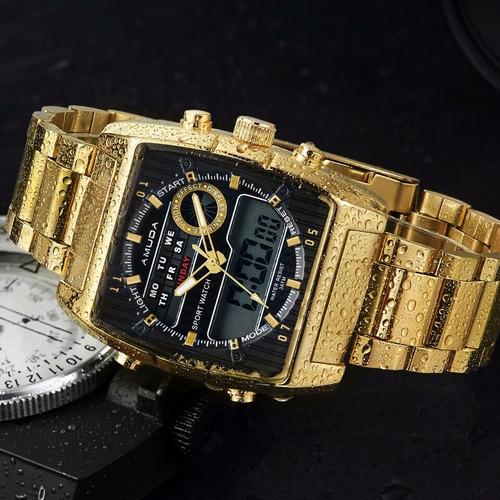 relógio amuda banhado a ouro multifunção dourado champion
