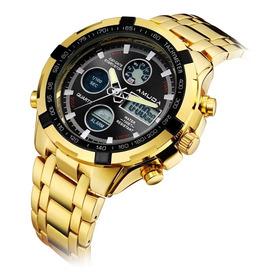Relógio Amuda Boamigo Banhado A Ouro Dourado Metal Inox