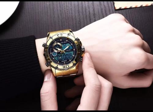 relogio amuda dourado masculino importado pronta entrega no brasil postagem rapida catraca giratoria analogico digital