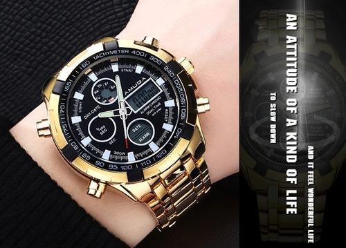 relógio amuda dourado top estiloso original