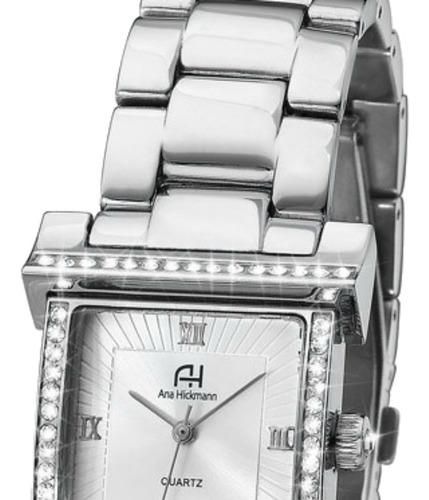relógio ana hickmann feminino quadrado prateado strass ah28179q original