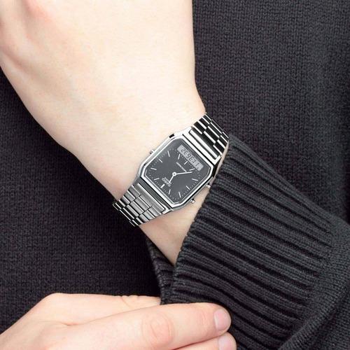 relógio anadigi casio aq-230a prata fundo preto original