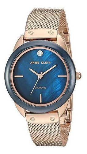 relógio analógico anne klein 3258-nvrg feminino - dourado / azul marinho