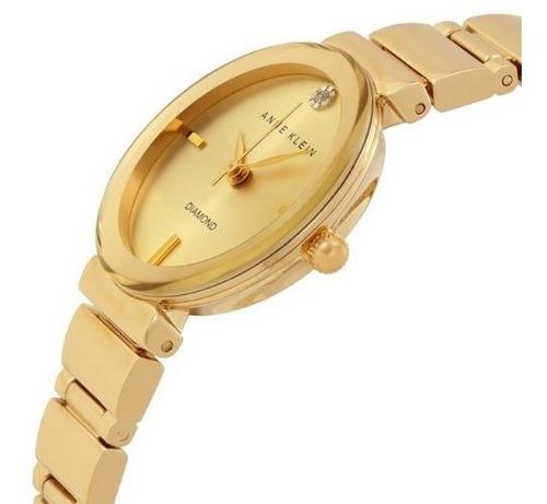 relógio analógico anne klein diamante 2434-chgb feminino - dourado
