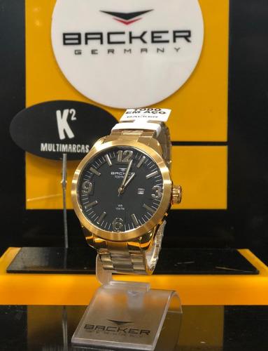 relógio analógico backer germany 3289245m pr- original