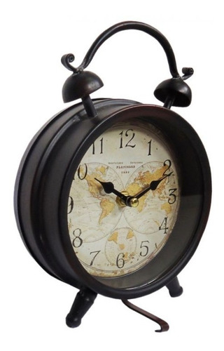 relógio analógico de mesa em metal vintage mapa mundi 10636