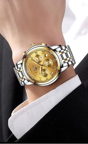 relógio analogico dourado aço masculino de luxo  adultos