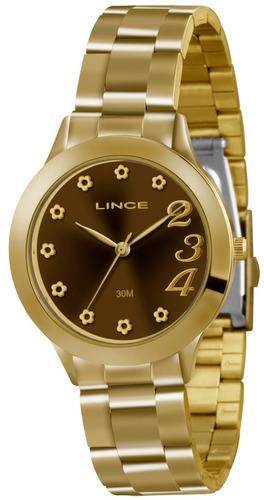 relógio analógico feminino lince dourado lrg4299l m2kx-723