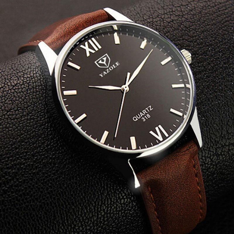 f68ca5ceece relógio analógico feminino masculino yazole 318 preto marrom. Carregando  zoom.