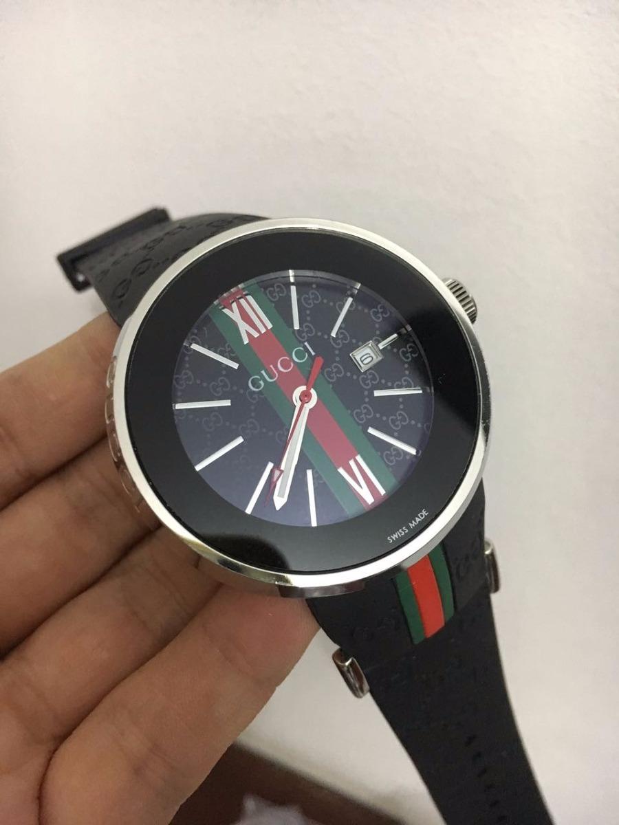 7c2f8596b Relógio Analógico Gucci Prata Mostrador Preto - R$ 600,00 em Mercado Livre