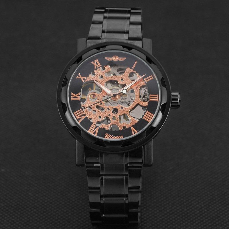 c70490130e5 relógio analógico masculino esqueleto cromado preto winner. Carregando zoom.