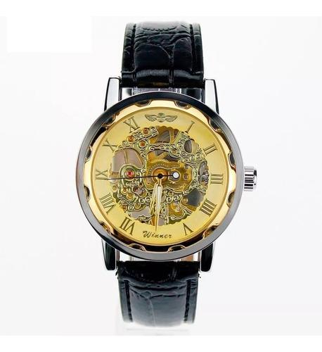 relógio analógico masculino esqueleto winner semi automatico