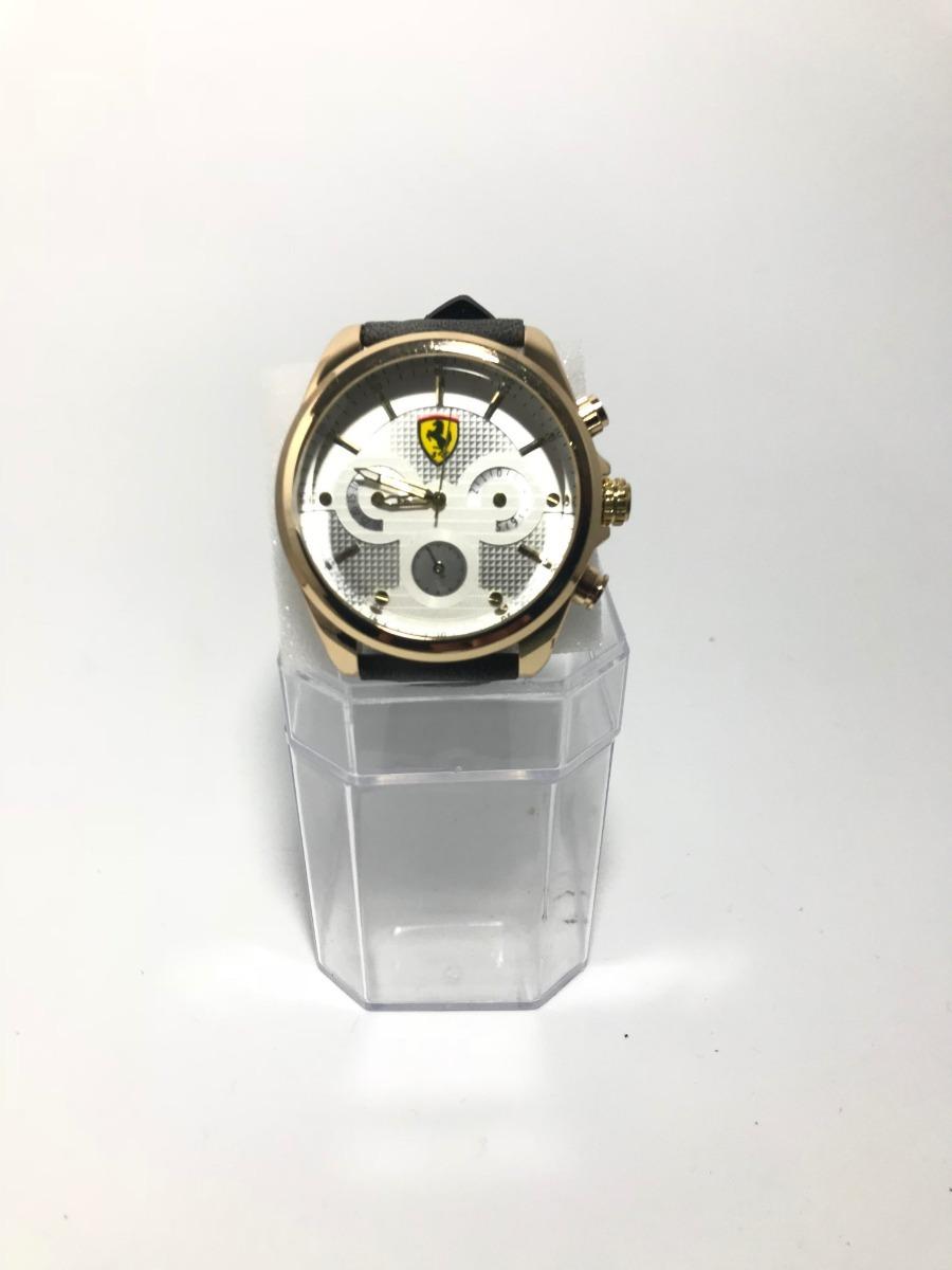 57b48cbdc12 Relógio Analógico Masculino Ferrari Dourado Correia Cinza - R  69