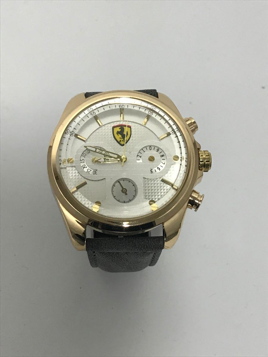 02ab5a9b05d relógio analógico masculino ferrari dourado correia cinza. 6 Fotos