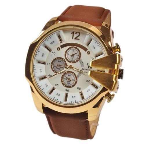 relógio analógico militar sport v6 dourado - pulseira morrom