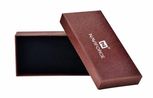 relógio analógico naviforce pulseira em couro pronta entrega