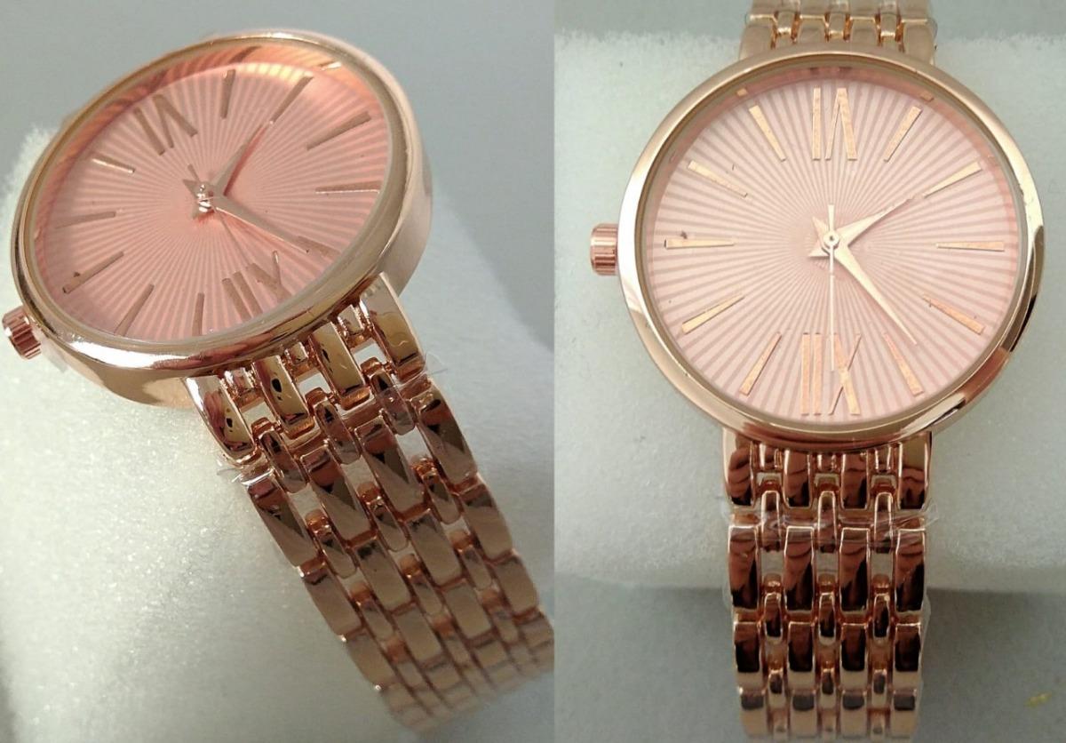 a7fbf6d427c relógio analógico rosa dourado feminino estiloso promoção. Carregando zoom.