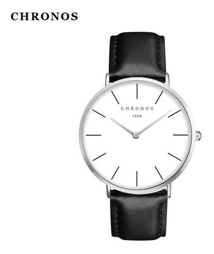 relógio analógico unisex pulseira em couro chronos 1898