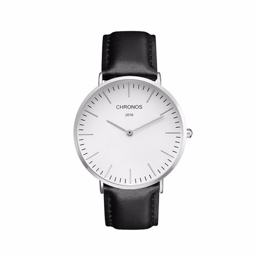 relógio analógico unisex pulseira em couro chronos 2016