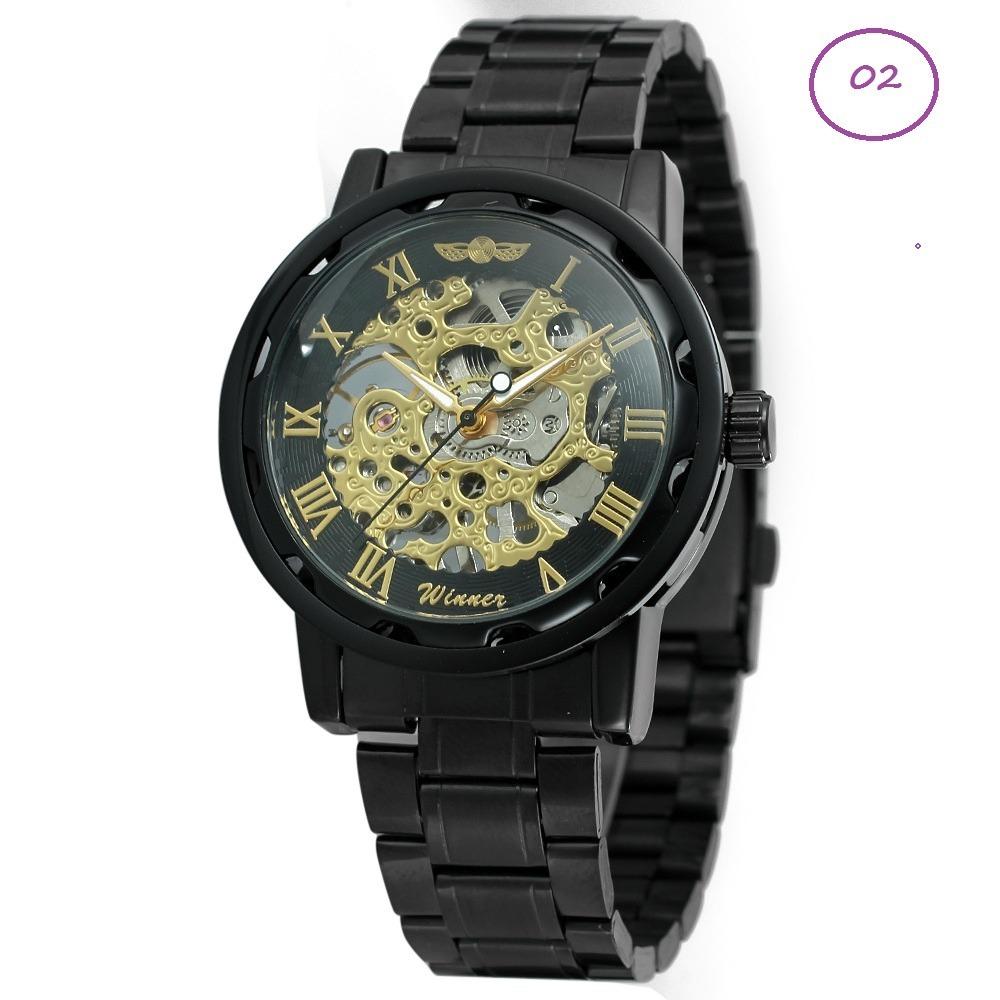 cc3b59a62f0 relógio analógico unissex esqueleto cromado dourado winner. Carregando zoom.