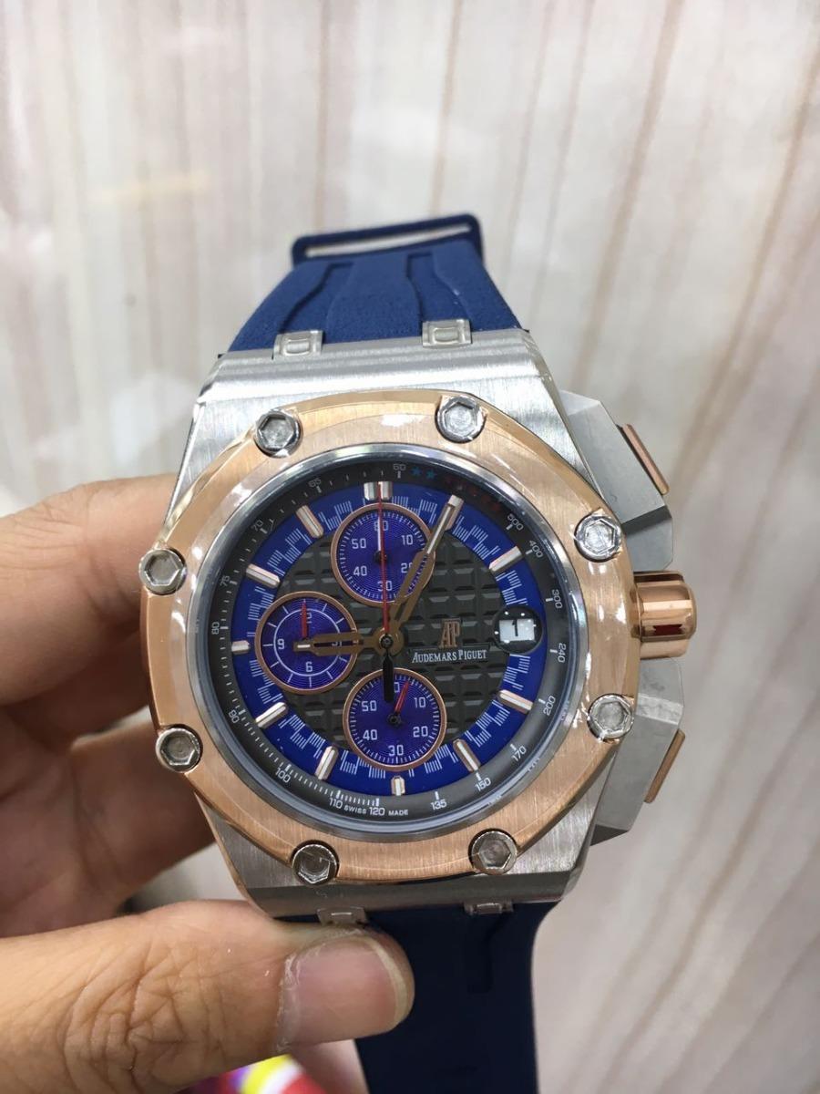 f8d3bdc556e relógio ap offshore black prata bezel rose detalhes azul. Carregando zoom.