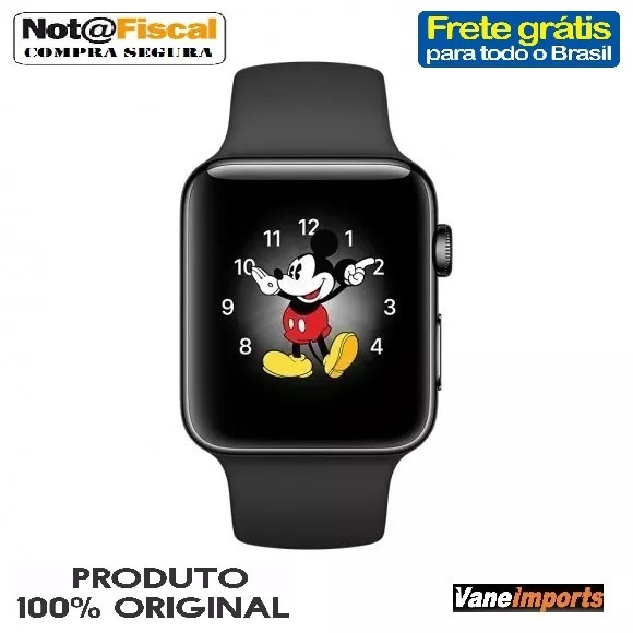 67dbc8867a8 Relógio Apple Watch 42mm Sport Serie 3 Preto +garantia+nota - R  2.199